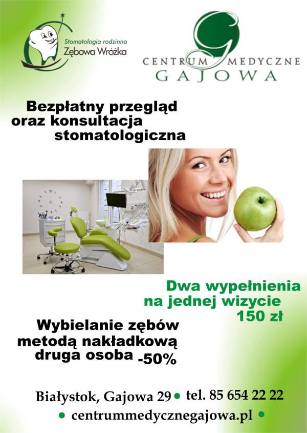 Centrum Medyczne Gajowa Białystok promocje wybielanie zębów