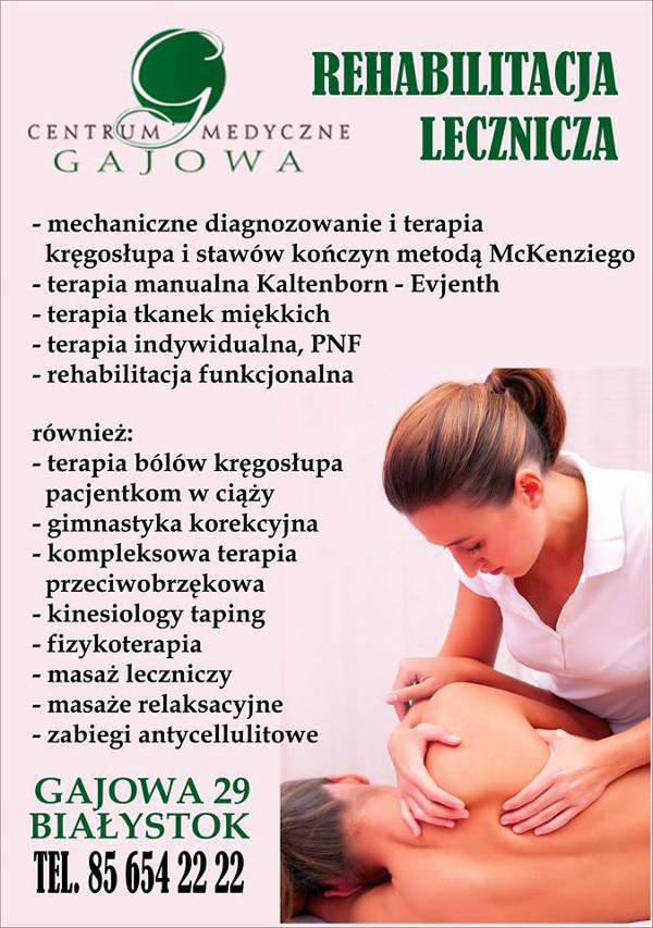 entrum Medyczne Gajowa Białystok rehabilitacja lecznicza