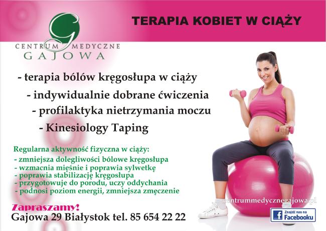 Terapia kobiet w ciąży: bóle kręgosłupa, profilaktyka nietrzymania moczu, Kinesiology Taping - Centrum Medyczne Gajowa